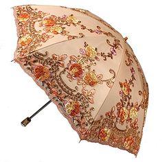 3D Embroidery Rose Sun Shade Anti-UV Sun Umbrella Twice Folding UV Protected Parasol (Orange)