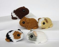 Baby guinea pigs by Katie Galusz.  Get the pattern here: http://www.ravelry.com/patterns/library/new born-guinea- pig   (Vanna's Choice yarn would be perfect for these.)