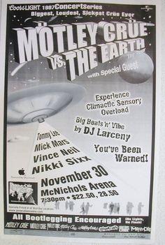 Metal concert posters | poster is an original concert poster for the 1997 motley crue concert ...