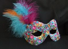 Baroque style flower feathered masquerade mask