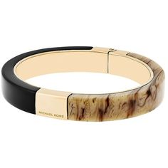 Michael Kors Colorblock  Bangle Bracelet ($115) ❤ liked on Polyvore featuring jewelry, bracelets, black, hinged bangle, steel jewelry, michael kors bangle, fake jewelry and tortoise shell jewelry