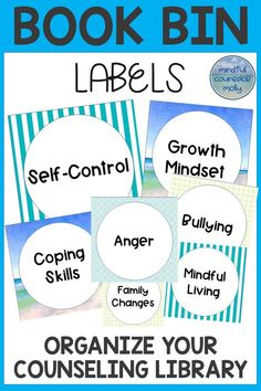 School Counselors, these book bin labels can be used to help you organize your counseling library! Book Bin Labels, Book Bins, Middle School Counselor, School Counseling Office, Teaching Social Skills, Counseling Activities, Character Education, Lesson Plans, Collaboration