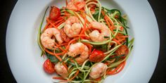 This recipe for garlic chilli prawns and courgette noodles is a big bowl of healthy comfort food. A fast weeknight meal for one but it's easily upscaled. Prawn Recipes, Carrot Recipes, Veg Recipes, Seafood Recipes, Cooking Recipes, Healthy Recipes, Chilli Prawns, Garlic Prawns, Healthy Comfort Food