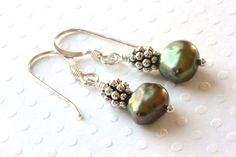Green Baroque Pearl Earrings in Sterling by ThePassionatePearl
