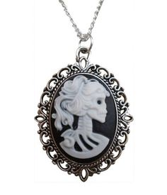 Jewellery Chic Boutique Vintage Antique Silver Gothic Goth Steampunk Cameo Victorian Skull Lady Jewellery + Gift Bag