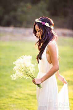 Love the flower crown for her boho wedding