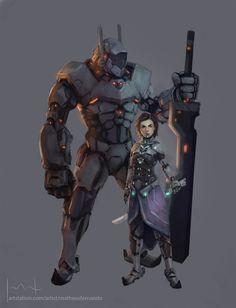 Arya and The Hound Sci-Fi, Matheus Fernando on ArtStation at https://www.artstation.com/artwork/lZnLo