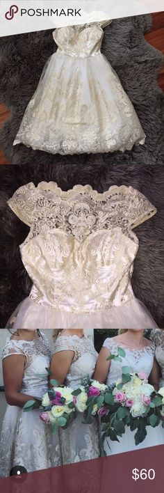 Chi Chi London Dress Champagne. (Gold & White) Lace. Knee length. Zipper on side. Worn once. UK size 8. US SIZE 4. fits like a 2 as well! Chi Chi London Dresses