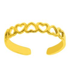 Yellow Gold Multiple Hearts Shiny Cuff Style Adjustable Toe Ring for sale online Gold Toe Rings, Silver Rings, Heart Jewelry, Heart Of Gold, Metal Stamping, Solid Gold, Heart Shapes, Jewelry Collection, Hearts