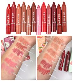 Colourpop Just a Tint Lippie Tints SwatchesYou can find Lipstick swatches and more on our website.Colourpop Just a Tint Lippie Tints Swatches Colourpop Lipstick, Colourpop Cosmetics, Lipstick For Fair Skin, Natural Lipstick, Natural Makeup, Makeup Inspo, Beauty Makeup, Eye Makeup, Tinted Lip Balm