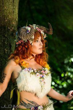 woodland nymph cosplay   Maenad Ram Horn Headdress by idolatre on Etsy, $199.00
