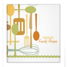 Familiar implements for cooking and eating are featured on this cool recipe binder in soft shades of brown, sage green, gold and orange on a white background. Sage green faux ric rac border gives it a vintage retro feel as well. Customize the two lines of text on the cover with your family name or message. Include matching blank recipe pages to complete the cookbook! Retro Kitchen Cooking Utensils Recipe Pages by kat_parrella More Recipe Letterhead #retro #recipe #cookbook #cooking #spatula…