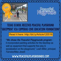 Fairview/Miss Jewell Elementary School in TX received Peaceful Playground equip via Copperas Cove Education Foundation! Http://bit.ly/Article120516http://kdhnews.com/copperas_cove_herald/community/education-foundation-funds-playground-equipment/article_56ffe5d8-b755-11e6-bba5-63d94857ef63.html (scheduled via http://www.tailwindapp.com?utm_source=pinterest&utm_medium=twpin&utm_content=post121560409&utm_campaign=scheduler_attribution)