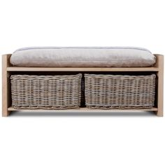 Garden Trading Oxford Storage Bench - Oak with Rattan Baskets (€520) ❤ liked on Polyvore featuring home, furniture, benches, bench, grain wood furniture, rattan furniture, rattan bench, oak bench and oak furniture