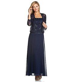 Ignite Evenings Woman Beaded Lace Jacket Dress #Dillards