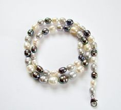 White and Grey Cultured Pearl Vintage Necklace by vintagepaige