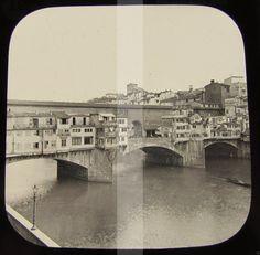 """Immagine del Ponte Vecchio ripresa da una """"lanterna Magica"""", non vedo la statua de Cellini inaugurata nel 1902"""