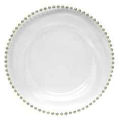 "The Jay Companies 13"" Round Silver Beaded Glass Charger Plate $14.95 per"