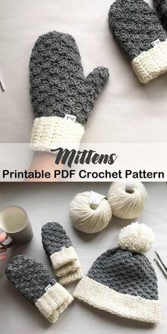Make a pair of mittens - mittens crochet pattern- crochet pattern pdf - amorecraftylife.com #crochet #crochetpatterns Crochet Mitts, Crochet Gloves, Easy Crochet, Knit Or Crochet, Crochet Scarves, Crochet Crafts, Yarn Crafts, Crochet Stitches, Crochet Baby