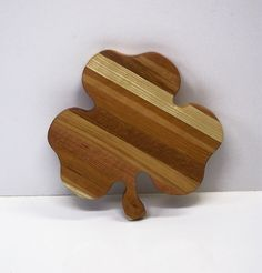 Shamrock  Cheese Cutting Board Handcrafted from Mixed Hardwoods by tomroche on Etsy