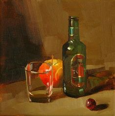 """Daily Paintworks - """"Happy Hour --- Sold"""" - Original Fine Art for Sale - © Qiang Huang"""