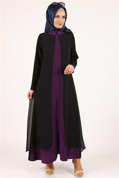 Fashion Sems Chiffon Detail Ferace Black Purple 5108