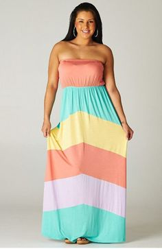 Plus Size Strapless Color Blocked Maxi | Happy Gal