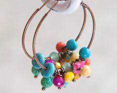 Colourful Earrings - Circle Earrings - Boho Chic Earrings - Rustic Earrings - Copper Earrings - Joyful by VintageRoseGallery Copper Earrings, Turquoise Earrings, Boho Earrings, Boho Jewelry, Etsy Jewelry, Unique Jewelry, Jewellery, Rainbow Crochet, Strand Bracelet
