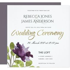 #engagement #party #invitations - #ELEGANT PURPLE BLUE WATERCOLOUR FLORAL WEDDING CARD