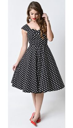 Collectif 1950s Black & White Polka Dot Darlene Swing Dress