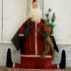 Pattern: Primitive Wool Santa Doll - Stocking Stuffer Size: Approx 20 Designer: Threads That Bind GREAT for all those Fall craft shows that are coming up!!! There are 4 dolls in total... I love to combine shipping