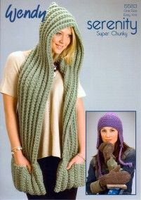 Scarf with Hood, Mitts and Earflap Hat in Wendy Serenity Super Chunky (5583)