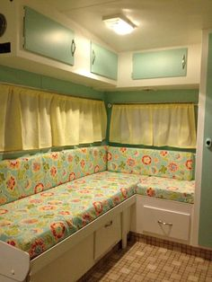"1981 travel trailer remodel - Benjamin Moore's ""Copper Patina"" and ""Cloud White"" paint colours; fabrics from Fabricland and new cabinet hardware from Rona. Didn't do the floors. Remodel by @Sarah White"