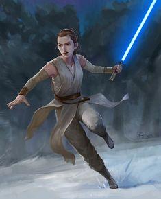 Rey / Star Wars / The Last Jedi / the force wakens, Bing Tsui Star Wars Canon, Rey Star Wars, Star Wars Art, Daisy Ridley, Star Wars Characters, Star Wars Episodes, Grand Admiral Thrawn, Last Jedi, Love Stars