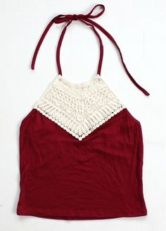 Gorgeous and flattering maroon halter top features ivory crochet detailing on the front and open back. Tie the neck for an adjustable, comfortable fit. Material is super soft and very stretchy - perfect for a casual festival-style outfit! Wear with highwaisted pants or denim shorts.