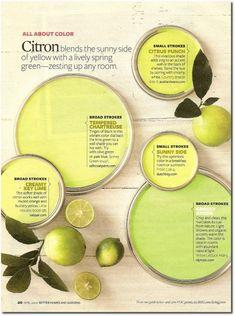 "Citron- The perfect, subtle ""pop of color"" Interior Paint Colors, Paint Colors For Home, House Colors, Painting Tips, House Painting, Paint Color Schemes, Paint Samples, Color Palate, Color Swatches"