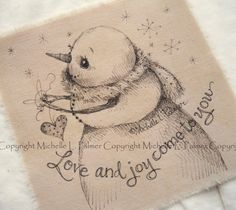 Sweet little friends find their way into my heart and I love to sketch them for you!  Original pen & ink illustrations on fabric. December 2015