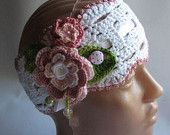 Headband Cotton in White with Flowers eco friendly  OOAK