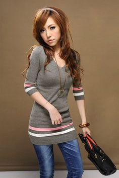 V-neck Wide Stripy Half-sleeve Sweater Gray on Buytrends.com, only price $9.53