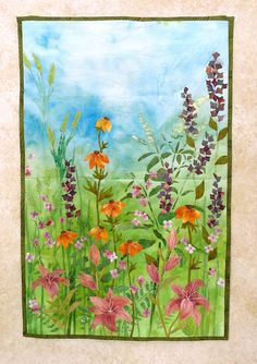 Hand painted fabric art quilt wallhanging by ArtQuiltsbyGretchen