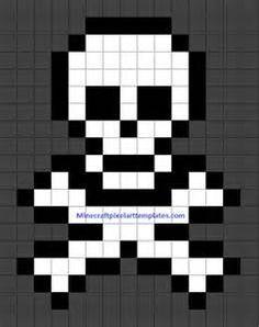 Minecraft Pixel Art Templates: Skull and Crossbones