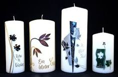 Design the picture result for grief candles - Velas decorativas Pillar Candles, Candle Holders, Pictures, Design, Grief, Decorated Candles, Manualidades, Ikea Candles, Candle Art