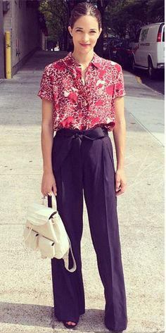 Elle magazine's Maria Dueñas Jacobs on Tory Daily wearing Tory Burch's Blaise shirt
