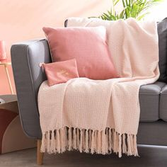Blush pink and grey sofa and living room decor | Light Pink Cotton Throw | Maisons du Monde | So Blush