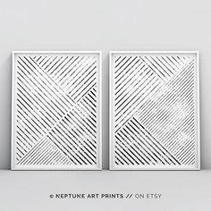 Set of 2 Minimalist Wall Art Print, Affiche Scandinave, Geometric Art, Scandinavian Art, Modern Abstract Poster, Black and White Printable