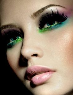 Pink blue and green eyeshadow