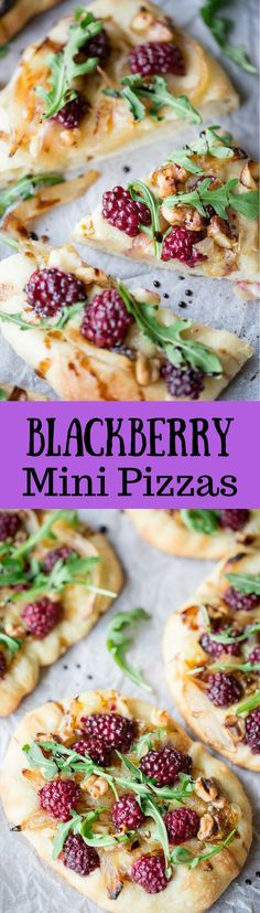 Blackberry & Brie Mini Pizzas ~ Soft yeasty dough is topped with caramelized onions, gooey brie cheese, fresh blackberries and walnuts. The mini-pizzas are baked until golden brown and crispy around the edges, then finished with fresh ground black pepper, arugula and a drizzle of good quality balsamic vinegar.   www.savingdessert.com   pizza | brie |  blackberry | arugula | balsamic vinegar | mini pizza | appetizer