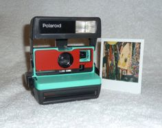 Upcycled White and Red Polaroid Sun 600  Cleaned and Tested