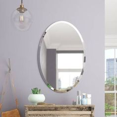 Fantastic Frameless Bathroom Mirrors Thornbury Oval Bevel Frameless Wall Mirror within [keyword This option is to give the mirror a little softness, round shapes help to do that. Oval Mirror, Beveled Mirror, Beveled Glass, Oval Bathroom Mirror, Wall Mirrors, Mirror Set, Wall Décor, Small Bathroom, Double Door Design