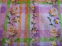 Vintage Fabric Vintage Flocked Swiss Dot Fabric Flocked Roses on Plaid Stripe SOLD BTY Purple Lavender Green Orange Free Ship USA by auctionsaletreasures on Etsy